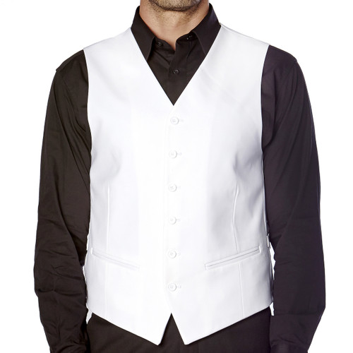 CONCITOR Brand Men's Dress Vest Formal Waistcoat for Suit Solid WHITE Color