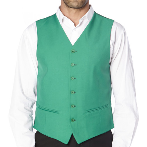 CONCITOR Brand Men's Dress Vest Formal Waistcoat for Suit Solid EMERALD GREEN Color
