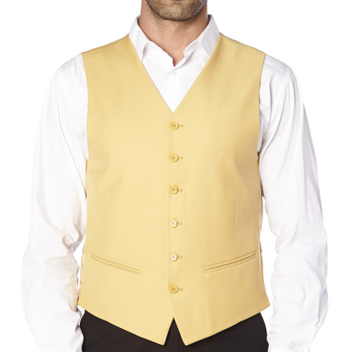 CONCITOR Brand Men's Dress Vest Formal Waistcoat for Suit Solid GOLD Color