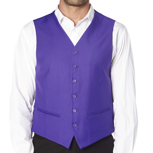 CONCITOR Brand Men's Dress Vest Formal Waistcoat for Suit Solid PURPLE INDIGO Color