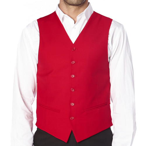 CONCITOR Brand Men's Dress Vest Formal Waistcoat for Suit Solid RED Color