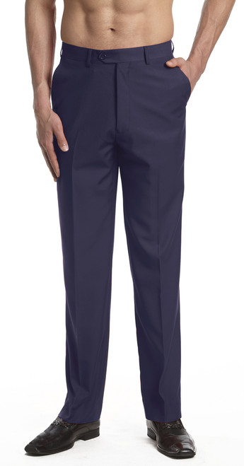CONCITOR Men's Dress Pants Trousers Flat Front Slacks Solid NAVY BLUE Color