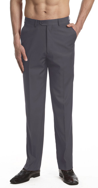 CONCITOR Men's Dress Pants Trousers Flat Front Slacks Solid CHARCOAL GRAY Color