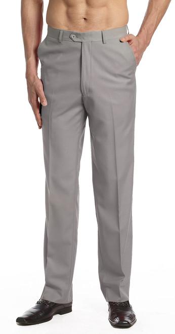 CONCITOR Men's Dress Pants Trousers Flat Front Slacks Solid SILVER GRAY Color