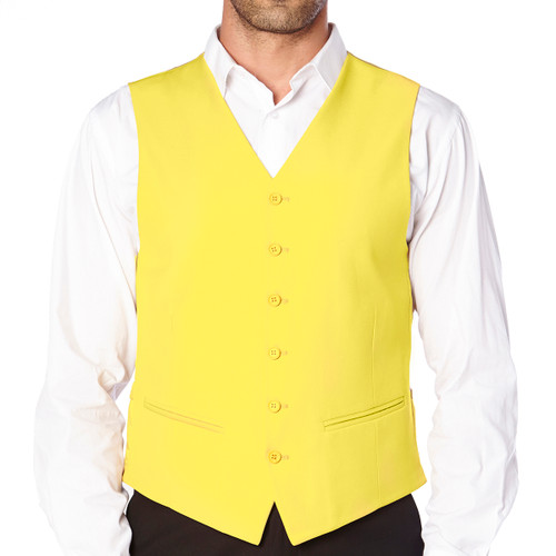 CONCITOR Brand Men's Dress Vest Formal Waistcoat for Suit Solid Golden YELLOW Color