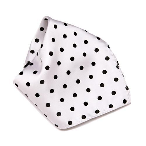 WHITE with BLACK Polka Dots Handkerchief Pocket Square Hanky Men's Handkerchiefs