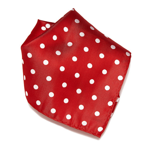 RED with WHITE Polka Dots Handkerchief Pocket Square Hanky Men's Handkerchiefs