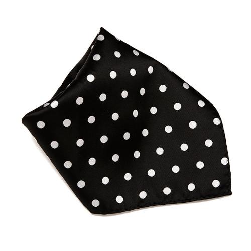 BLACK with WHITE Polka Dots Handkerchief Pocket Square Hanky Men's Handkerchiefs