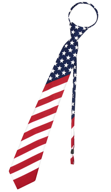 Vesuvio Napoli Men's Necktie AMERICAN FLAG Red White Blue Color PreTied Zipper Neck Tie