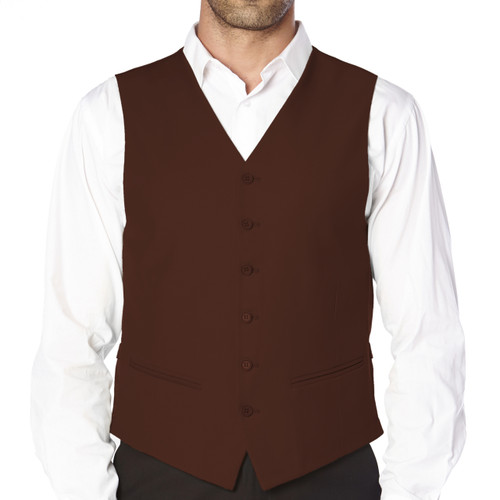 CONCITOR Brand Men's Dress Vest Formal Waistcoat for Suit Solid CHOCOLATE BROWN Color