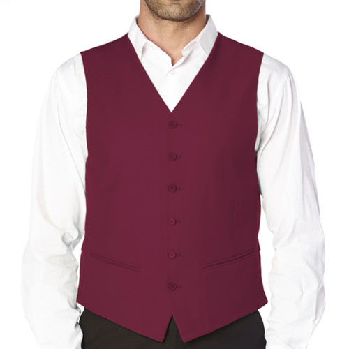 CONCITOR Brand Men's Dress Vest Formal Waistcoat for Suit Solid BURGUNDY Color