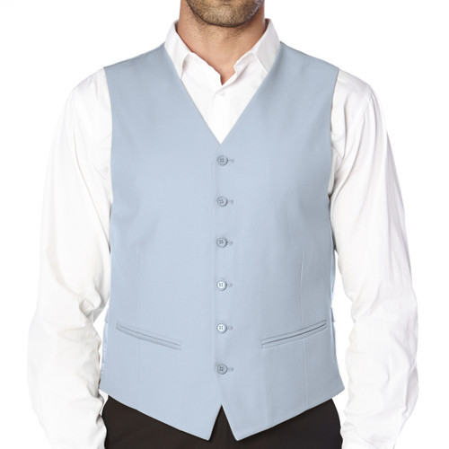 CONCITOR Brand Men's Dress Vest Formal Waistcoat for Suit Solid BABY BLUE Color
