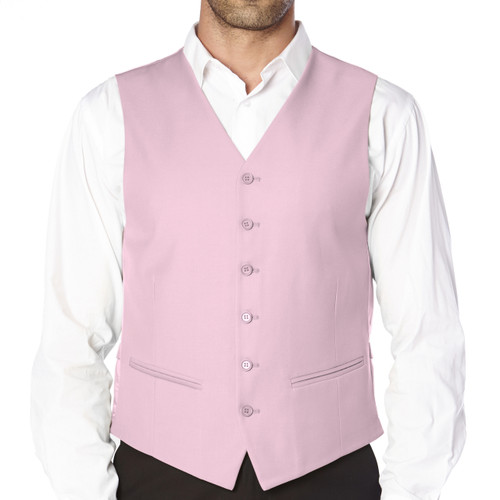CONCITOR Brand Men's Dress Vest Formal Waistcoat for Suit Solid PINK Color
