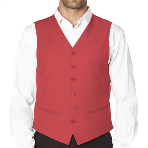 CONCITOR Brand Men's Dress Vest Formal Waistcoat for Suit Solid CORAL PINK Color
