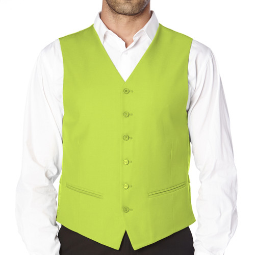 CONCITOR Brand Men's Dress Vest Formal Waistcoat for Suit Solid LIME GREEN Color
