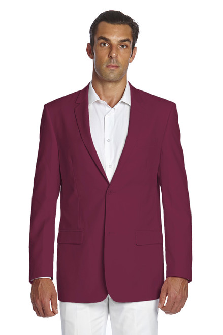 CONCITOR Men's Suit Jacket Separate Blazer Coat Solid BURGUNDY Color Two Button Style