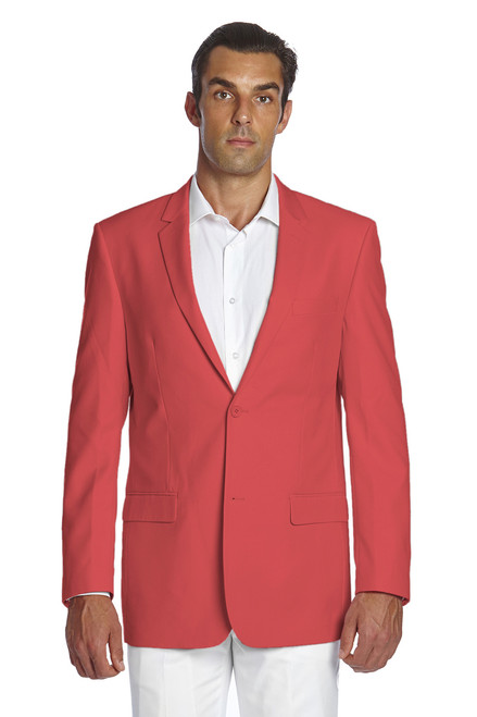 CONCITOR Men's Suit Jacket Separate Blazer Coat Solid CORAL PINK Color Two Button Style