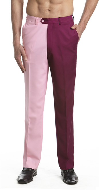 Men's Dress Pants Trousers Flat Front Slacks BURGUNDY and PINK CONCITOR