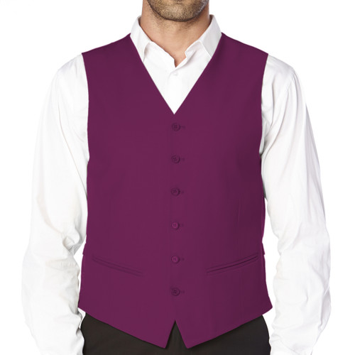 CONCITOR Brand Men's Dress Vest Formal Waistcoat for Suit Solid PURPLE EGGPLANT Color