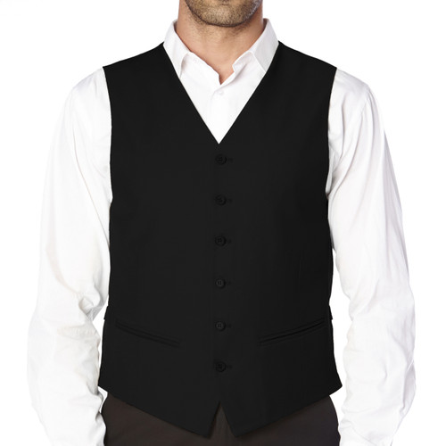 CONCITOR Brand Men's Dress Vest Formal Waistcoat for Suit Solid BLACK Color