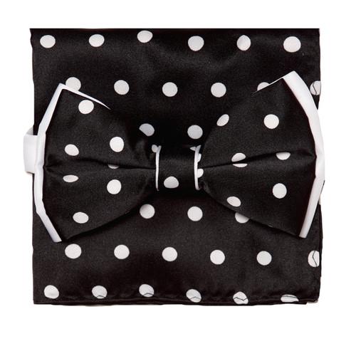 Bow Tie Handkerchief Set Polka Dot Design BLACK Color BowTie Hanky WHITE Dots