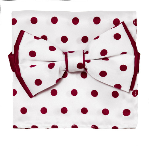 Bow Tie Handkerchief Set Polka Dot Design WHITE Color BowTie Hanky with RED Dots