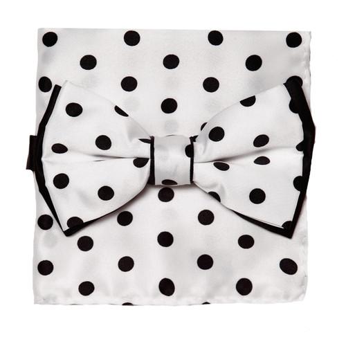 Bow Tie Handkerchief Set Polka Dot Design WHITE Color BowTie Hanky BLACK Dots