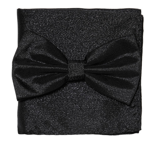 Bow Tie Handkerchief Set Gleaming Metallic Design BLACK Color BowTie Hanky Square