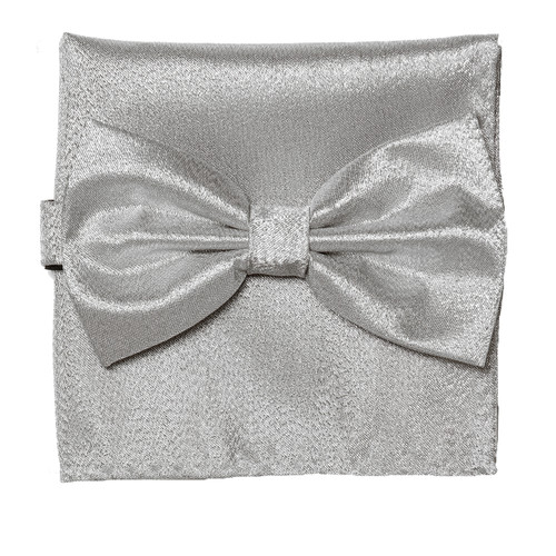 Bow Tie Handkerchief Set Gleaming Metallic Design SILVER Color BowTie Hanky Square