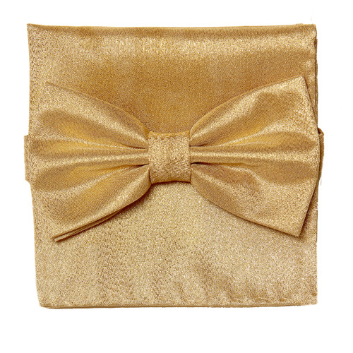 Bow Tie Handkerchief Set Gleaming Metallic Design GOLD Color BowTie Hanky Square