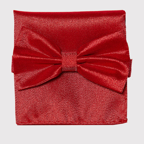 Bow Tie Handkerchief Set Gleaming Metallic Design RED Color BowTie Hanky Square