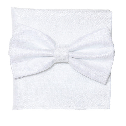 Bow Tie Handkerchief Set Gleaming Metallic Design WHITE Color BowTie Hanky Square