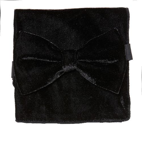 Bow Tie Handkerchief Set Solid BLACK Color VELVET Fabric BowTie Hanky Pocket Square