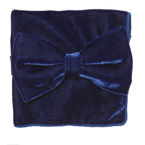 Bow Tie Handkerchief Set Solid ROYAL BLUE Color VELVET Fabric BowTie Hanky Pocket Square