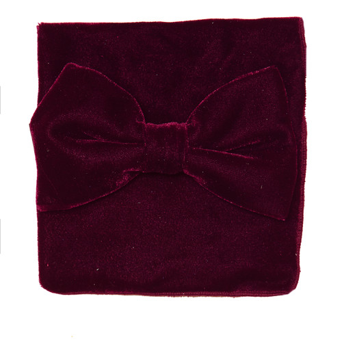 Bow Tie Handkerchief Set Solied BURGUNDY Color VELVET Fabric BowTie Hanky Pocket Square