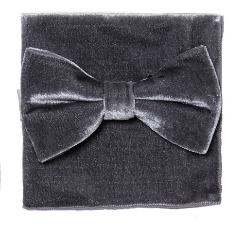 Bow Tie Handkerchief Set Solid GRAY Color VELVET Fabric BowTie Hanky Pocket Square