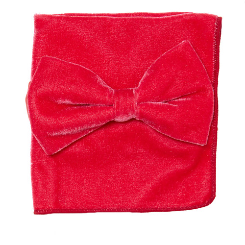 Bow Tie Handkerchief Set Solid CORAL PINK Color VELVET Fabric BowTie Hanky Pocket Square