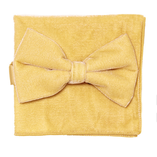 Bow Tie Handkerchief Set Solid GOLD Color VELVET Fabric BowTie Hanky Pocket Square
