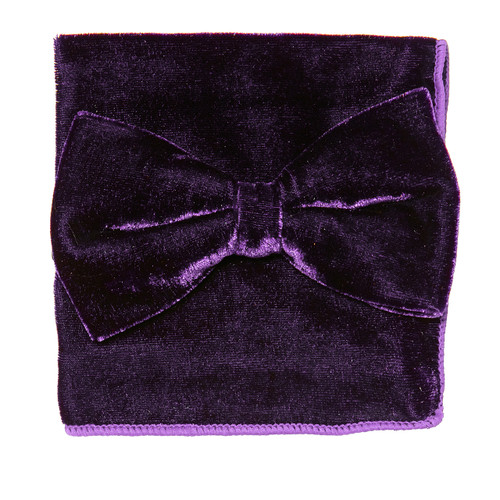 Bow Tie Handkerchief Set Solid PURPLE Color VELVET Fabric BowTie Hanky Pocket Square