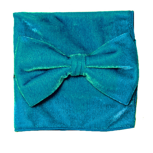 Bow Tie Handkerchief Set Solid TURQUOISE BLUE VELVET Fabric BowTie Hanky Pocket Square