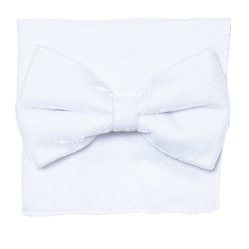 Bow Tie Handkerchief Set Solid WHITE Color VELVET Fabric BowTie Hanky Pocket Square