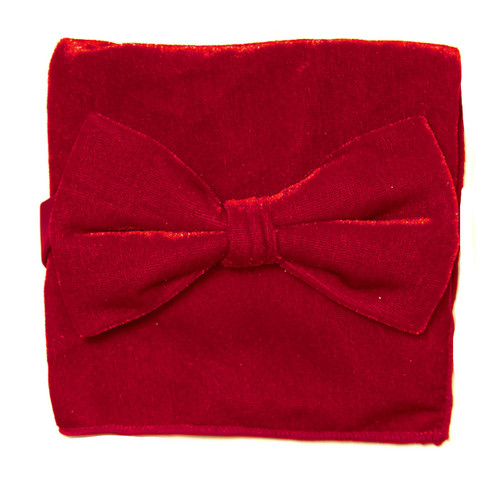 Bow Tie Handkerchief Set Solid RED Color VELVET Fabric BowTie Hanky Pocket Square