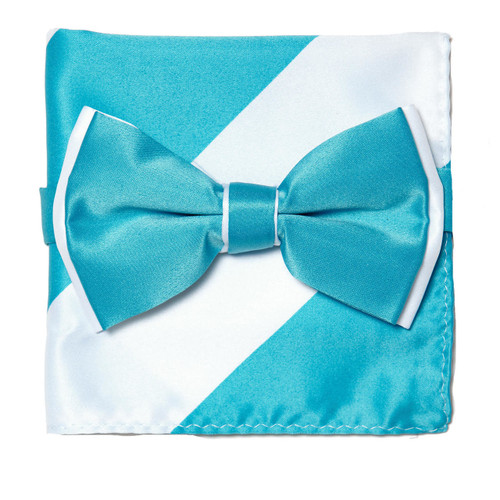 Bow Tie Handkerchief Set Two Tone TURQUOISE BLUE / WHITE Color BowTie Hanky Square