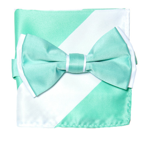 Bow Tie Handkerchief Set Two Tone AQUA GREEN / WHITE Color BowTie Hanky Square