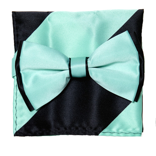 Bow Tie Handkerchief Set Two Tone AQUA GREEN / BLACK Color BowTie Hanky Square