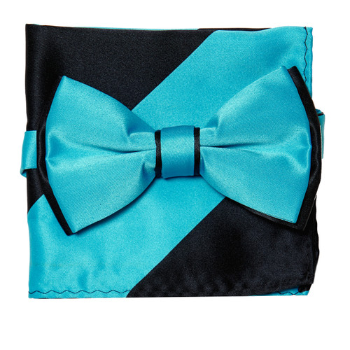 Bow Tie Handkerchief Set Two Tone TURQUOISE BLUE / BLACK Color BowTie Hanky Square