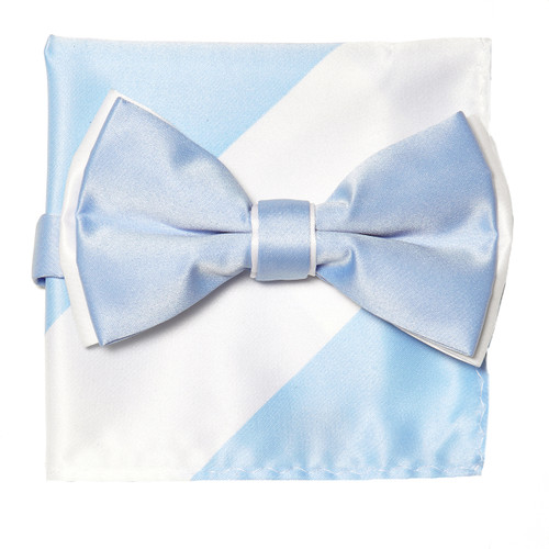 Bow Tie Handkerchief Set Two Tone LIGHT BLUE / WHITE Color BowTie Hanky Square