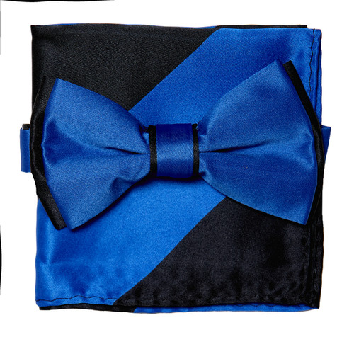 Bow Tie Handkerchief Set Two Tone ROYAL BLUE / BLACK Color BowTie Hanky Square
