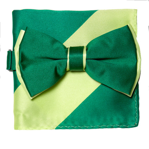 Bow Tie Handkerchief Set Two Tone EMERALD GREEN / MINT Color BowTie Hanky Square