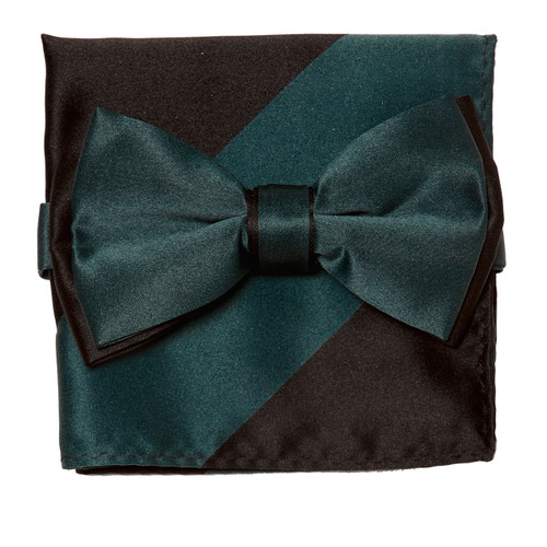 Bow Tie Handkerchief Set Two Tone TEAL / BLACK Color BowTie Hanky Pocket Square